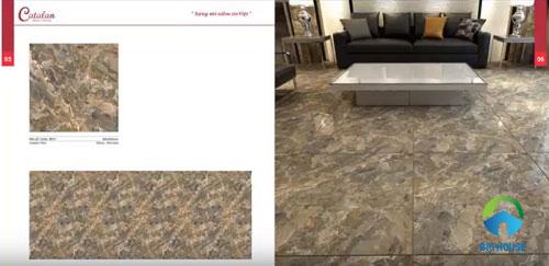 Phòng khách sang trọng, ấn tượng với gạch lát nền giả đá
