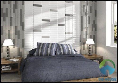 gạch thẻ trắng ốp tường phòng ngủ