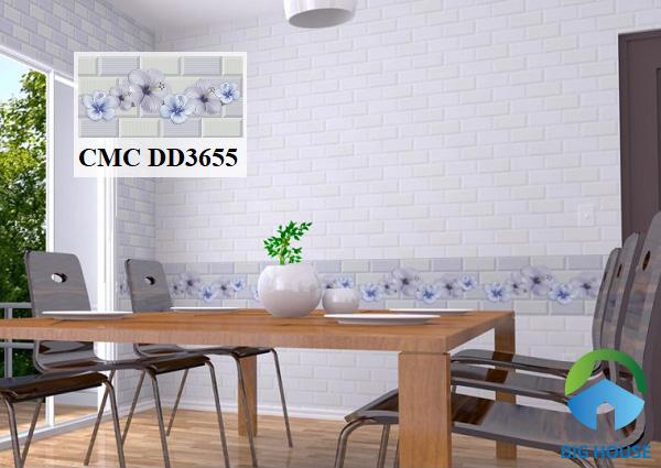 Sử dụng gạch CMC DD3655 kích thước 30x60 họa tiết hoa bắt mắt ốp tường phòng ăn