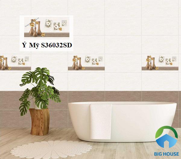 Mẫu gạch Ý Mỹ S36032SD họa tiết hoa văn ấn tượng trang trí phòng tắm
