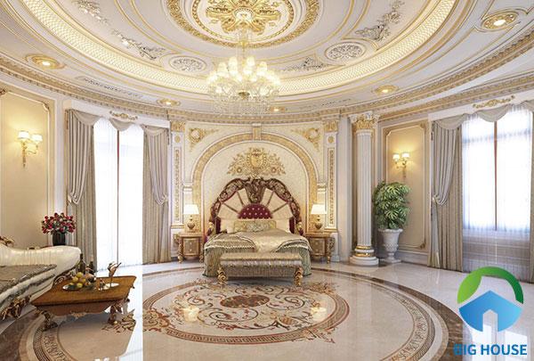 Hút hồn với không gian phòng ngủ đẹp nguy nga, lộng lẫy. Với những phòng ngủ kiểu này thường sử dụng tấm thảm rất lớn