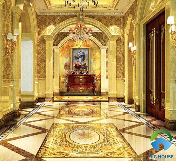 Với những công trình mang phong cách cổ điển thì thường sử dụng gạch lát thảm tiền sảnh vàng nâu. Đồng thời, lấp lánh ánh nhũ vàng trông rất sang trọng