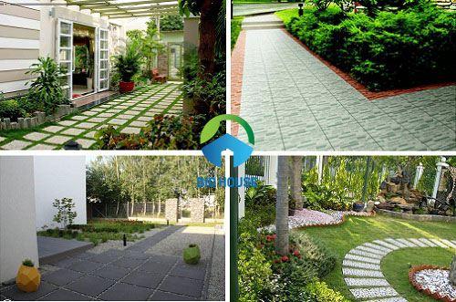 mẫu gạch lát sân vườn biệt thự