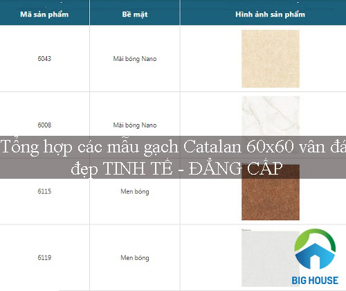 BST mẫu gạch Catalan 60×60 vân đá đẹp và sang trọng 2020