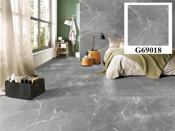 Taicera G69018 kích thước 90x90 màu xám vân đá cho không gian phòng ngủ thêm phá cách