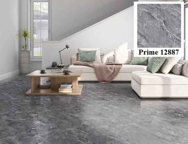 Vân đá marble trắng nổi bật trên bề mặt mẫu gạch lát nền màu xám Prime 12887