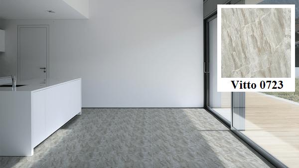 Bếp nấu sử dụng gạch lát nền màu xám trắng vân đá Vitto 0723 có bề mặt bóng, phẳng