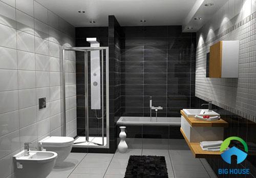 Gạch màu đen men bóng ốp khu vực tường bồn tắm
