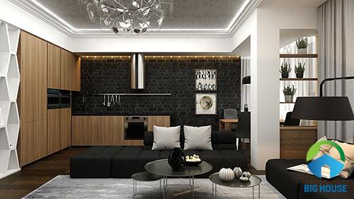 Gạch ốp tường màu đen giả cổ cho khu vực tường bếp