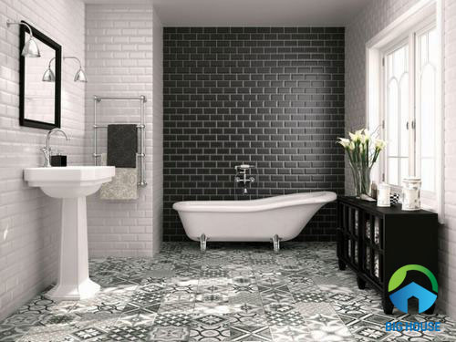 Gạch thẻ màu đen ốp tường nhà tắm