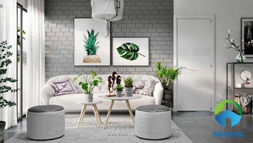 Gạch ốp tường màu xám cho phòng khách