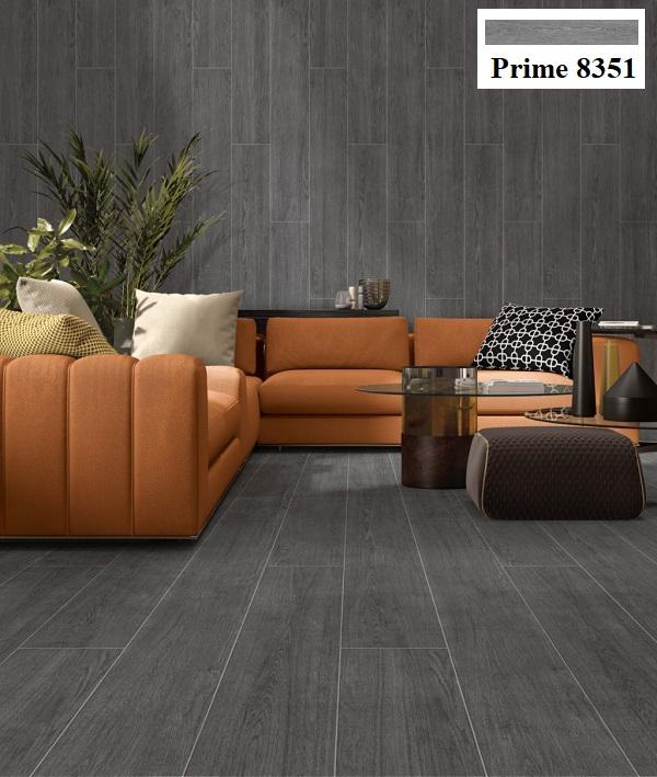Bạn có thể sử dụng gạch ốp tường, lát nền màu ghi xám Prime 8351 để phối kết hợp với nội thất màu cam