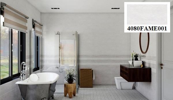 Sử dụng gạch ốp tường màu xám trắng để làm điểm nhấn cho không gian nhà tắm