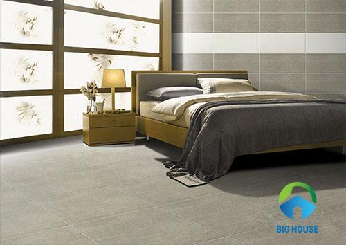 Gạch màu xám ốp tường phòng ngủ