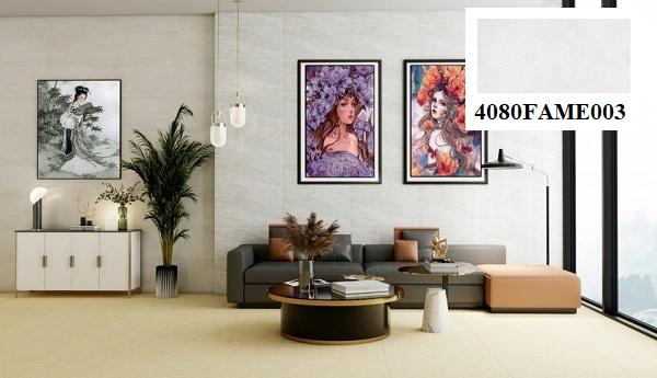 Khu vực phòng khách trông thoáng đãng, rộng hãi hơn hẳn khi ứng dụng mẫu gạch ốp tường màu xám Đồng Tâm 4080FAME003