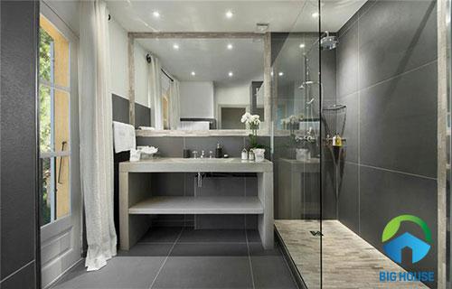 Gạch ốp tường màu xám cho nhà tắm, nhà vệ sinh