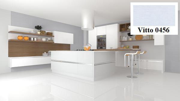 Hoặc bạn cũng có thể ốp tường phòng bếp của mình bằng mẫu gạch trang trí Vitto 0456 màu xám xanh đẹp mắt này