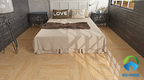 gạch giả gỗ lát nền phòng ngủ