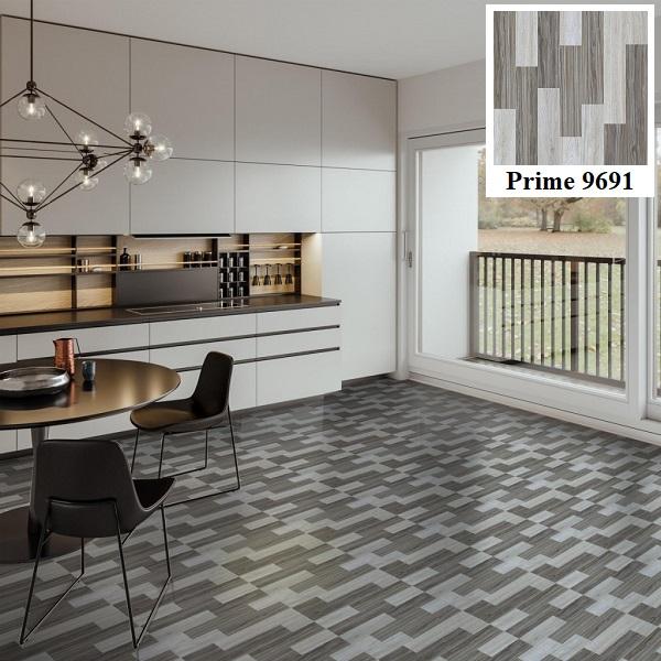 Gạch lát nền giả gỗ Prime 9691 có bề mặt bóng và tông màu xám trắng trung tính