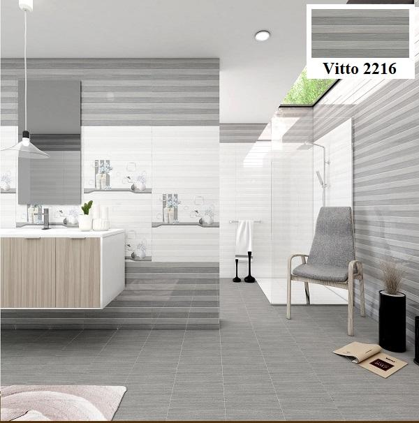 Không gian nhà vệ sinh trông hiện đại hơn hẳn với mẫu gạch giả gỗ Vitto 2216 màu xám trắng