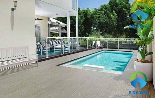 Gạch giả gỗ 15x60 lát sân bể bơi