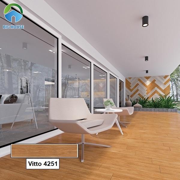 Thay vì những mẫu gạch giả đá, gạch vân gỗ Vitto 4251 men matt lát hiên nhà giúp chống trơn cực tốt.