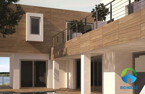 Gạch 30x60cm vân gỗ ốp mặt tiền