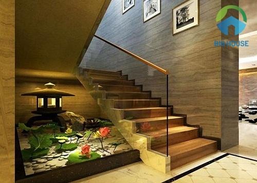 gạch ốp trang trí cầu thang hài hòa với gạch lát