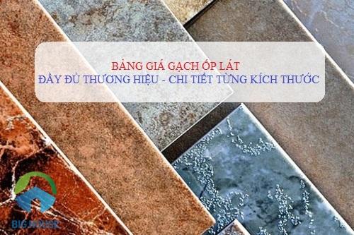Bảng báo giá gạch ốp lát Prime, Bạch Mã, Đồng Tâm, Viglacera