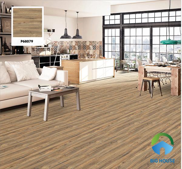Gợi ý mã gạch Ý Mỹ P68079 60x60 tone nâu vân gỗ bắt mắt. Nhờ những họa tiết chân thực này mà phòng khách trở nên ấm cúng hơn