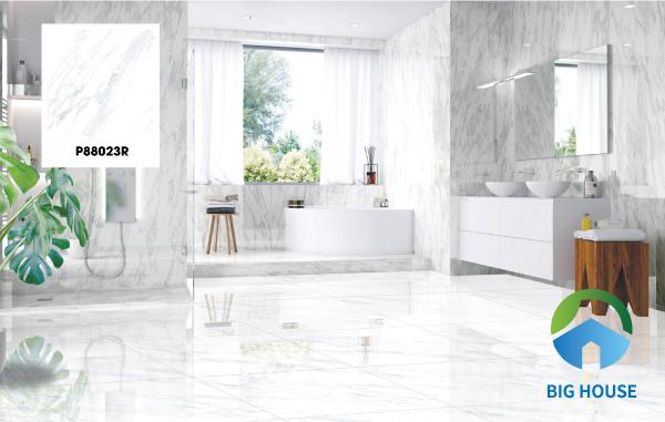 Ngoài ra, gạch Ý Mỹ P88023R cũng là dòng gạch được ưa chuộng nhất hiện nay. Những họa tiết vân đá tự nhiên trên gạch mang đến sự thoáng đãng, nét tươi mới cho ngôi nhà bạn