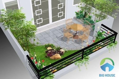 gạch lát sân vườn nhà phố
