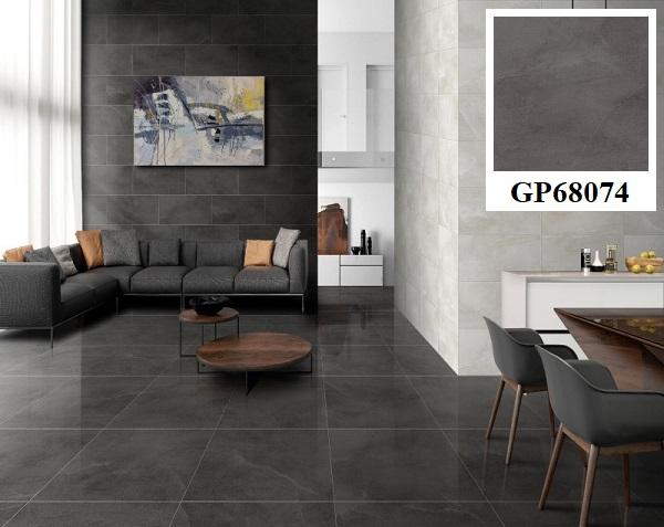 Gạch Taicera GP68074 lát nền 60x60 màu xám đen phù hợp với những phòng khách có diện tích vừa và rộng