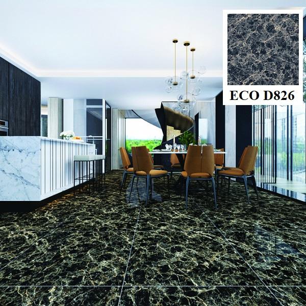 Không gian phòng bếp trở nên sang trọng, đẳng cấp hơn hẳn với mẫu gạch lát nền Vigalcera màu xanh đen ECO D826
