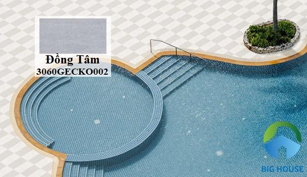 Tiếp theo là gạch Đồng Tâm 3060GECKO002 xám lát sân thượng có bể bơi ấn tượng. Gạch kích thước 30x60 lát xen kẽ cùng mẫu gạch tone nhạt hơn tạo sự hài hòa và lôi cuốn. Xương gạch granite có độ cứng, độ bền cao giúp gạch có tuổi thọ lâu dài