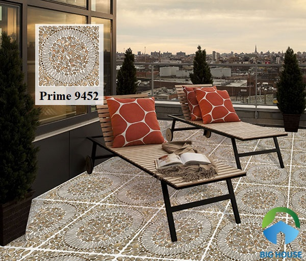 Mẫu gạch Prime 01.500500.9452 cũng được ứng dụng nhiều để lát sân thượng. Những họa tiết đá chân thực, lôi cuốn với gam màu trầm rất ưa nhìn