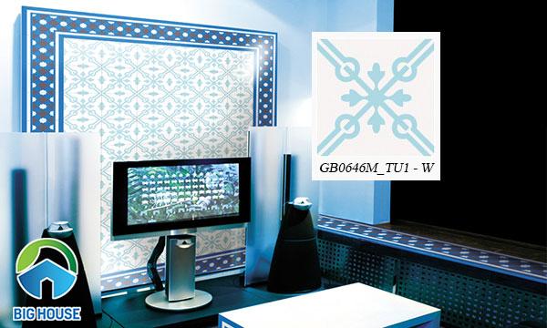 Gạch bông trang trí ốp tường phòng khách Đồng TâmGB0646M_TU1 - W