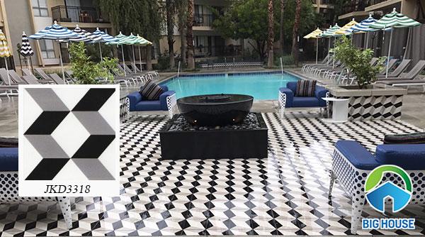 Gạch bông họa tiết 3D JKD3318 lát sàn bể bơi