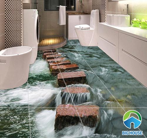 gạch lát sàn nhà tắm 3d
