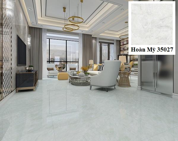 Phòng khách nhà ống sử dụng mẫu gạch lát sàn kích thước 80x80 Hoàn Mỹ 35027