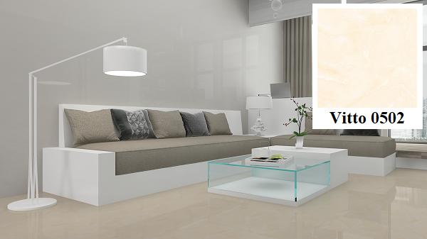 Mẫu gạch lát nền vân đá Vitto 0502 cho phòng khách thêm sang trọng và hiện đại