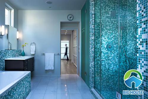 Gạch mosaic màu xanh ngọc