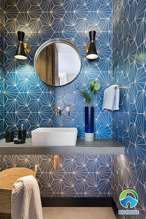 gạch ốp nhà tắm màu xanh