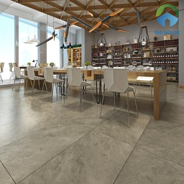 Sử dụng dòng gạch vân đá lát nền nhà hàng sang trọng