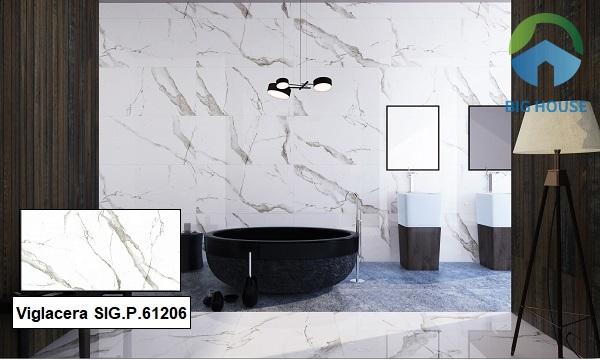 Gạch Viglacera SIG.P.61206 ốp tường phòng tắm với họa tiết vân đá sống động