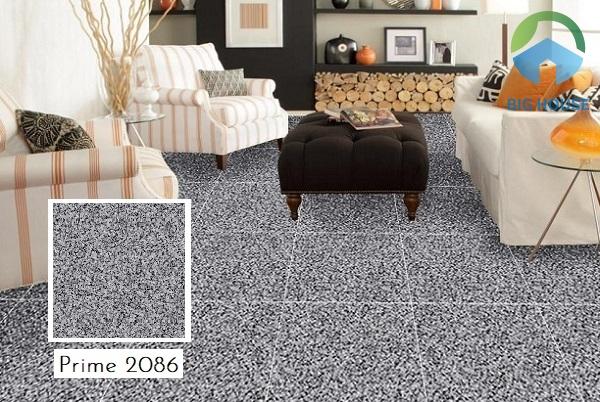 Ấn tượng mẫu gạch Prime 2086 giả đá hoa cương đen ghi lát nền phòng khách
