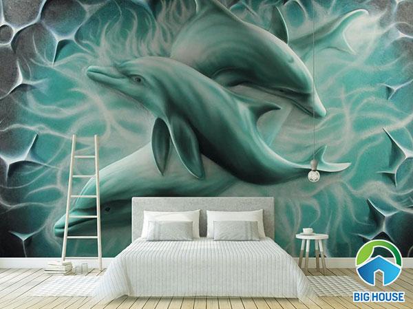 gạch tranh ngọc bích cá heo