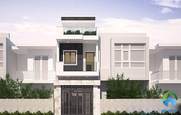 Ngoài cách ốp gạch toàn bộ mặt tiền ngôi nhà, có thể tạo điểm nhấn bằng cách ốp mặt tiền tầng 1 giúp ngôi nhà bắt mắt hơn