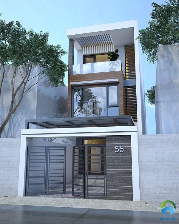 Gạch vân gỗ nâu sang trọng cho mặt tiền nhà phố