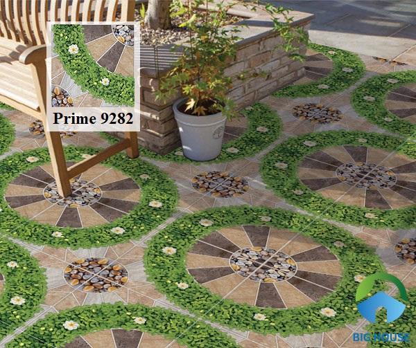 Hoặc có thể sử dụng gạch Prime 01.400400.09282 kích thước 40x40. Họa tiết giả cỏ, giá sỏi đá y như thật giúp không gian sống động hơn